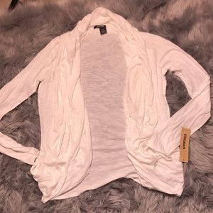 NWT DKNY JEANS white marled open cardigan large